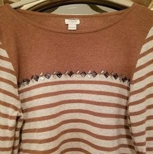J.crew Striped Embellished Sweater